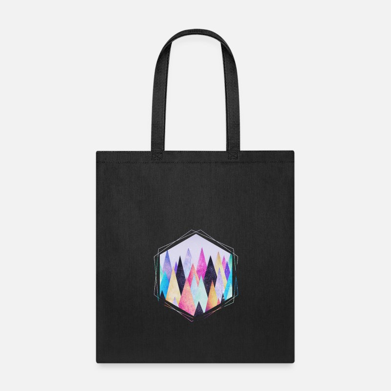 Collections Bags & backpacks -  Hipster triangles (geometry) Abstract Mountains  - Tote Bag black