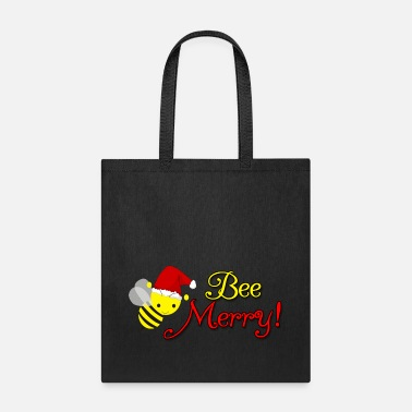 Bee Bee Merry Christmas Holiday Bumblebee Santa Hat - Tote Bag