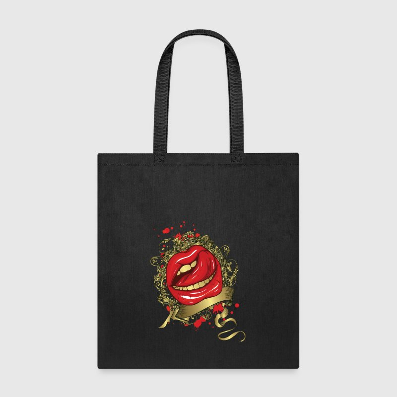 Tongue Stroking a Red Lips - Tote Bag