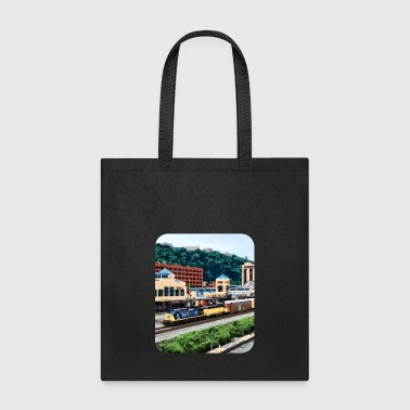 Freight Train Pittsburgh PA - Freight Train Going By Station Sq - Tote Bag