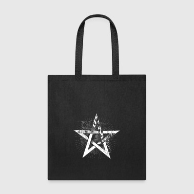 white pentagram with rays - Tote Bag