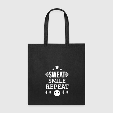 Sweat Smile Repeat - Gym Fitness Workout Training - Tote Bag