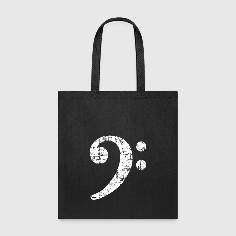 Bass Clef (Vintage/White)  - Tote Bag