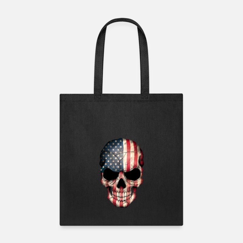 Skull Bags & backpacks - American Flag Skull - Tote Bag black