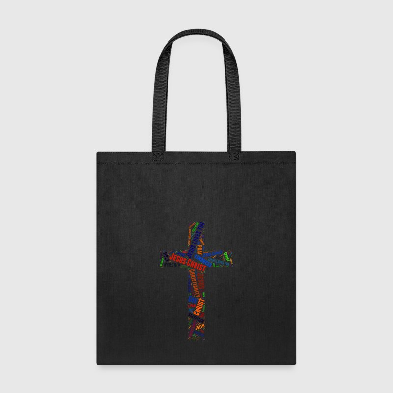 Colorful word's Christian cross - Tote Bag