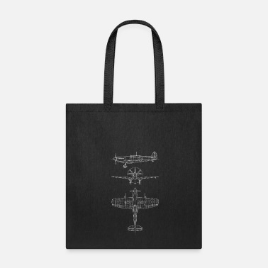 Spitfire airplane blueprint - Tote Bag
