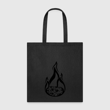 Fire hot fire flames burn cookie flat biscuit chocolate - Tote Bag