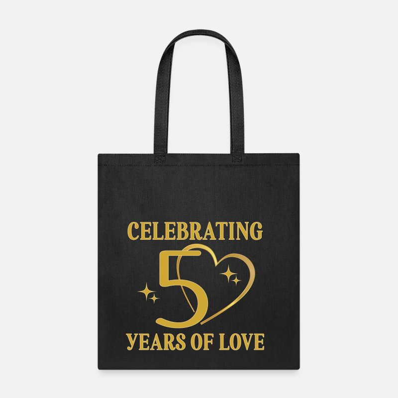 Anniversary Bags & backpacks - 50th Wedding Anniversary Golden - Tote Bag black