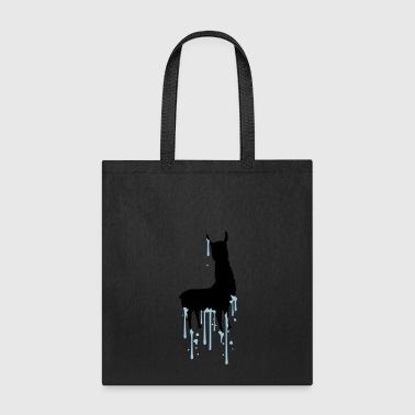drop graffiti spray silhouette black outline lama - Tote Bag