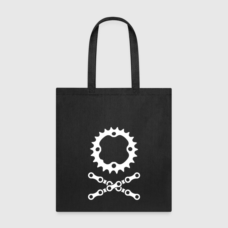 bike chain chainring skull crossbones - Tote Bag