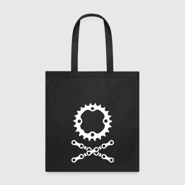 Skull bike chain chainring skull crossbones - Tote Bag