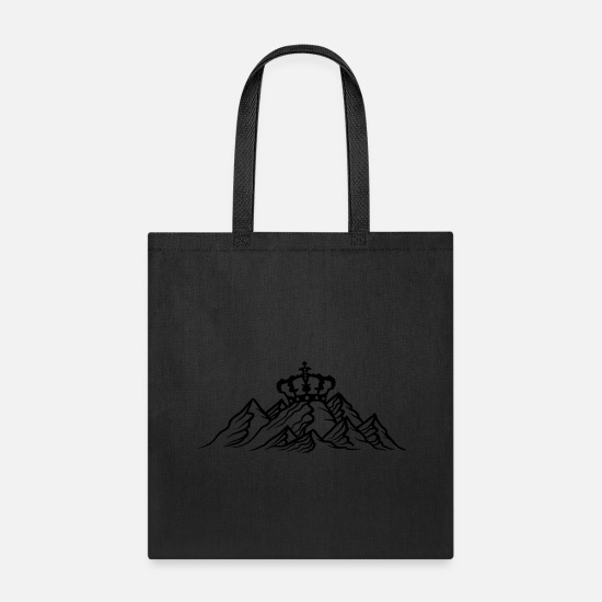 Cool Bags & Backpacks - prince crown king queen mountains hill alps hiking - Tote Bag black