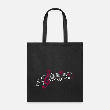 Music, clef with stars and music notes - Tote Bag