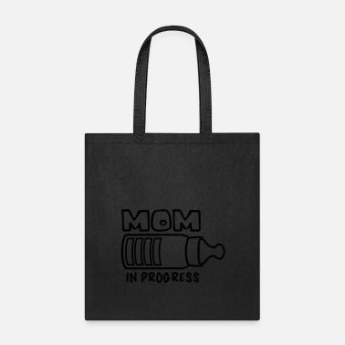 Offspring text mom in progress baby pregnant vial drink thir - Tote Bag
