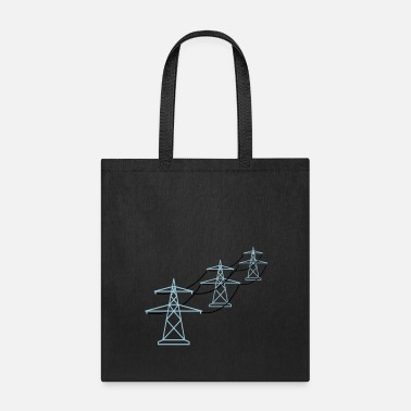 Electrical Line row pattern many line electricity mast power pole - Tote Bag