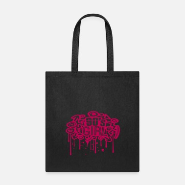 Girlie drop graffiti stamp spray retro colorful 90s girl - Tote Bag