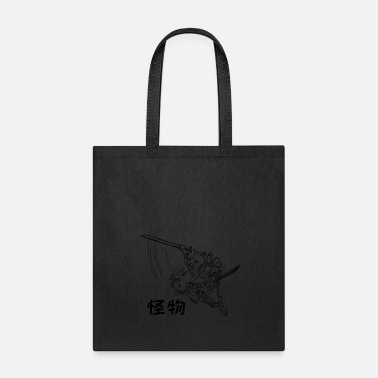 Samurai Cute Hand Drawn Samurai Cat with Weirdo in Kanji - Tote Bag