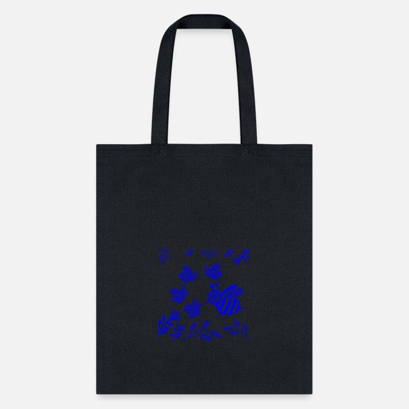 Gift Honey Bee Blue Tote Bag Black