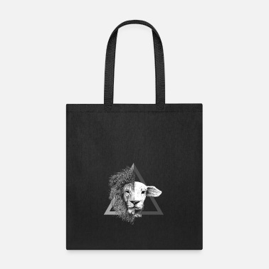 Lamb Christian,Bible Quote,Lion and Lamb - Tote Bag