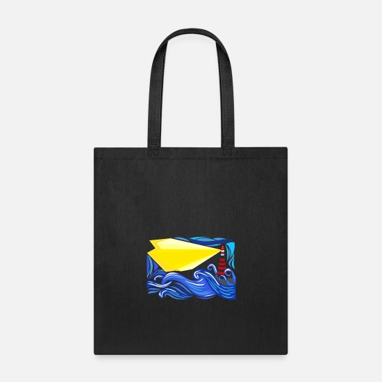 Lighthouse Bags & Backpacks - seascape with lighthouse - Tote Bag black