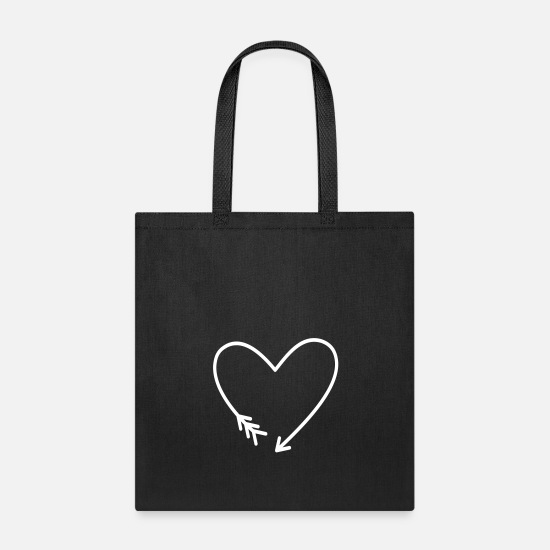 Love Bags & Backpacks - Heart Arrow Symbol Love Power Gift - Tote Bag black