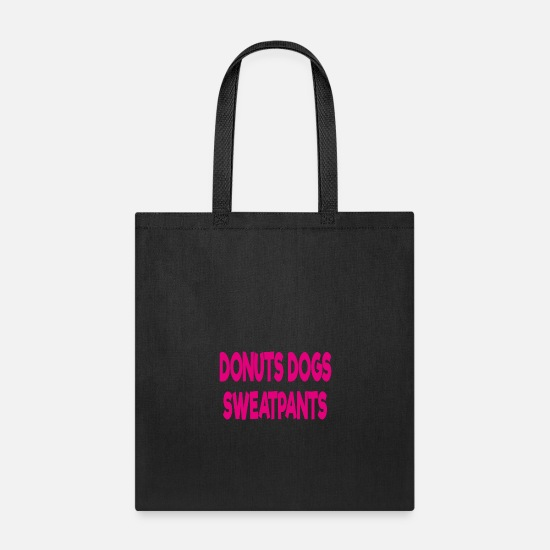 Love Bags & Backpacks - donuts dogs sweatpants - Tote Bag black