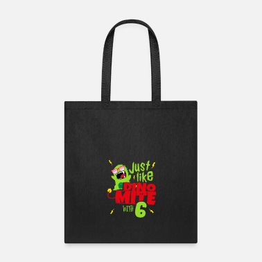 Lightning Bolt Just like Dino Mite 6th Birthday Boy 6 Dinosaur - Tote Bag