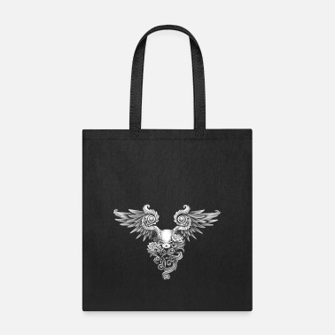 Wing Skull,roses and angel wings - Tote Bag