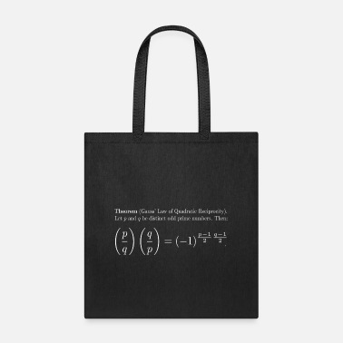 Quadrat Gauss' Law of Quadratic Reciprocity (White text) - Tote Bag