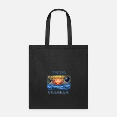 Computer Pixel graphic with balloons at night - Tote Bag