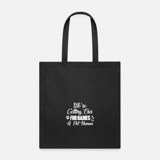 Pregnancy Bags & Backpacks - Pregnancy announcement pregnancy reveal cat dog - Tote Bag black