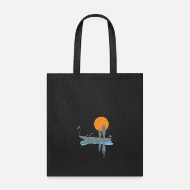 Air Boat T-shirt fisherman in boat with bird and fish - Tote Bag