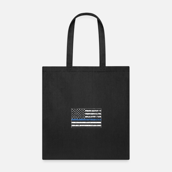 Flag Bags & Backpacks - Blue thin line distressed american Flag, Police - Tote Bag black