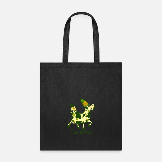 Funny Animals Bags & Backpacks - Cow Pineapple - Tote Bag black