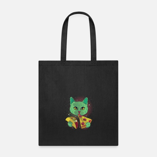 Pizza Bags & Backpacks - Cosmic Cat - Tote Bag black
