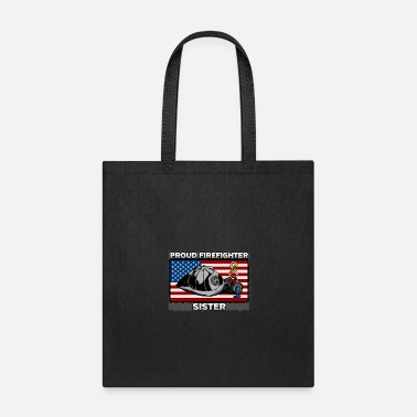 Fire Department Proud Firefighter Sister With My Hero Ribbon - Tote Bag