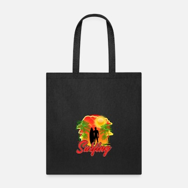 Morning Beach Surfing/ Riding Waves/ Surfer Surfboard - Tote Bag