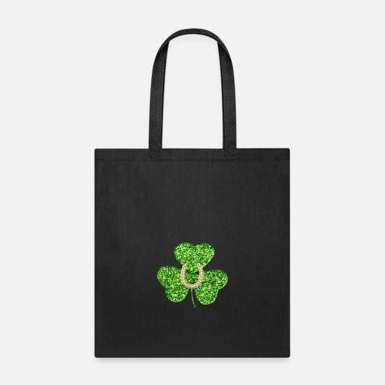 Lucky Bags & Backpacks - Faux Green Glitter Shamrock With a Horseshoe - Tote Bag black