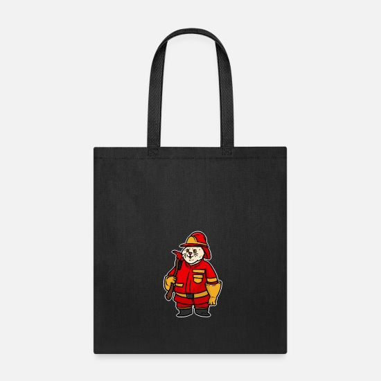Fire Fighter Bags & Backpacks - FIREMAN CAT - Tote Bag black