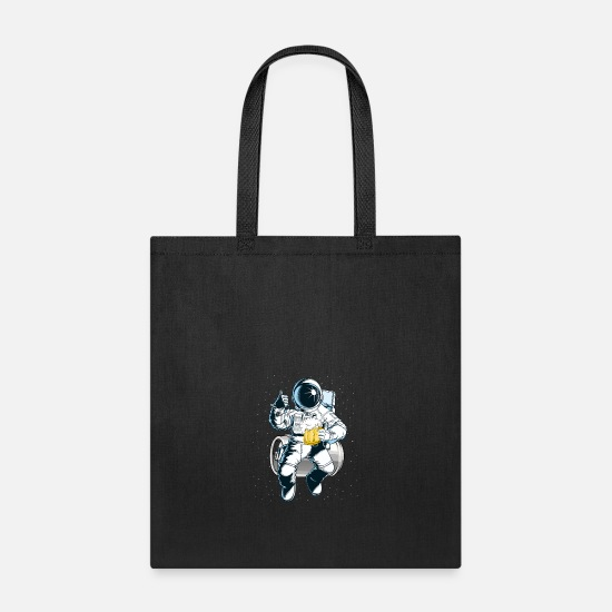 Alcohol Bags & Backpacks - Beer Drinking Astronaut T Shirt - Tote Bag black