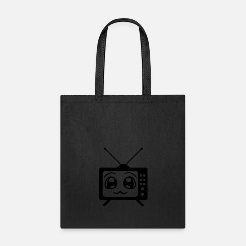 Comic Bags & backpacks - cute tv cute face comic cartoon tv screen watch lo - Tote Bag black