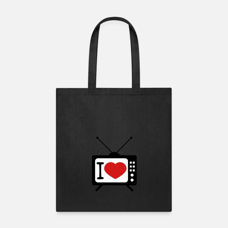 Love Bags & backpacks - I love television heart love tv screen watch watch - Tote Bag black