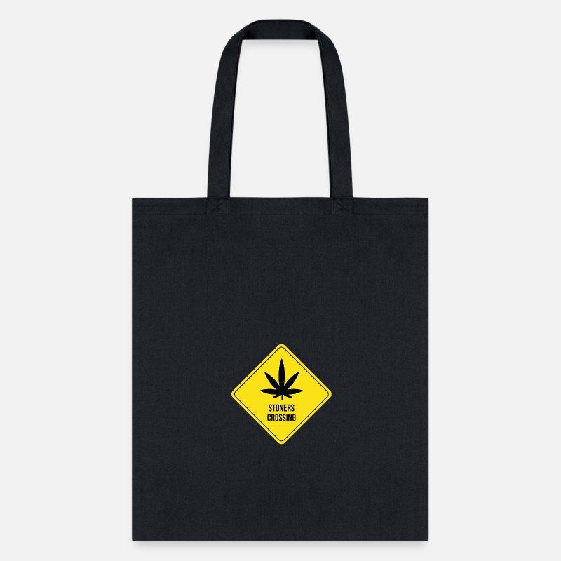 Shield Bags & backpacks - funny weed pothead stoner hemp gift roadsign - Tote Bag black