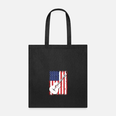 Rock N Roll American Flag Guitar Patriotic Guitarists T-Shirt - Tote Bag