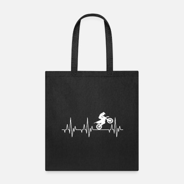 Motorcycle Heartbeat Motocross Motorcycles Motorcyclist - Tote Bag