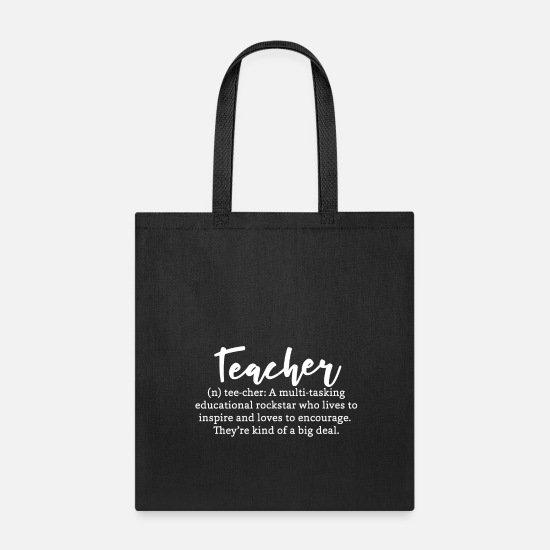 Teacher Bags & Backpacks - Teacher Definition Funny Talent Rockstar - Tote Bag black