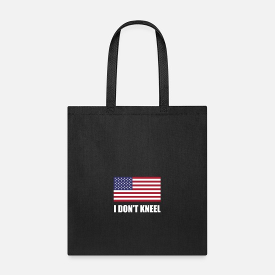 Panjul Bags & Backpacks - US Flag I don't kneel black shirt panjul store - Tote Bag black