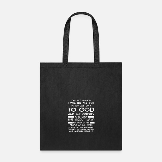 Boy Bags & Backpacks - Boy Scout Gift Tee Scout Law Oath - Tote Bag black