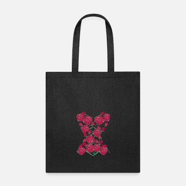 Floral Floral Corset - Watercolor Red Roses - Tote Bag