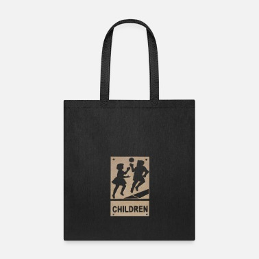 Road Sign Children Playing Road Sign - Tote Bag